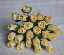 6mm CREAM ROSE BUDS (L) Mulberry Paper Flowers